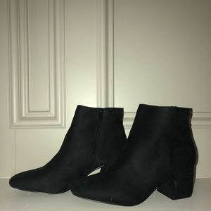 Suede black booties